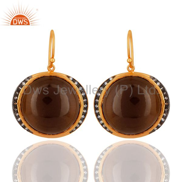 Natural Smoky Quartz Gemstone Gold Plated 925 Sterling Silver Hook Earrings