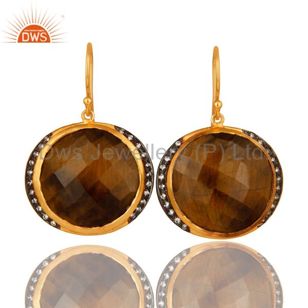 18K Yellow Gold Plated Sterling Silver Tiger Eye Gemstone Hook Earrings With CZ