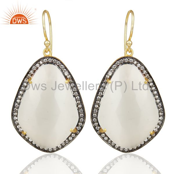14K Gold Plated 925 Sterling Silver Moonstone White Zircon Drops Earrings