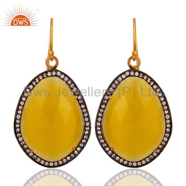Yellow Moonstone Earring Made In 18K Gold Over Sterling Silver Jewelry With CZ