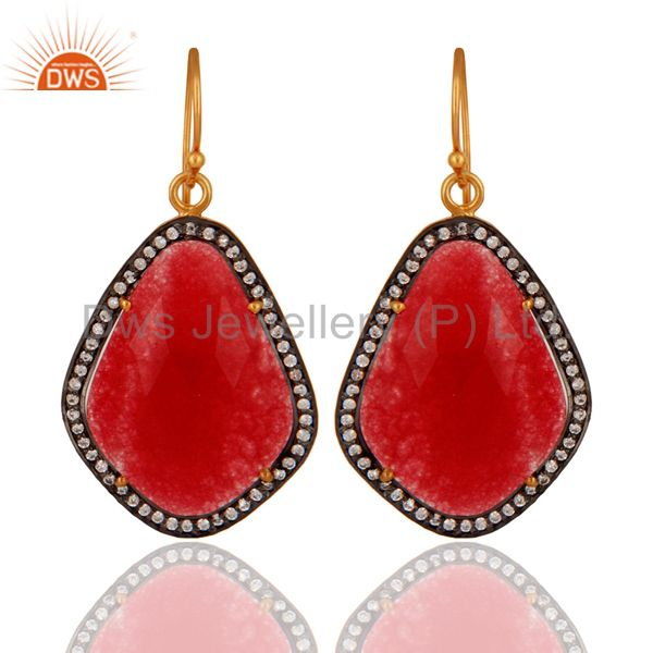 18K Gold Over 925 Sterling Silver Red Aventurine Gemstone Hook Earring With CZ