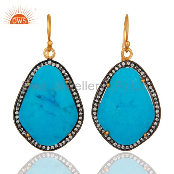 Handmade Turquoise Gemstone Earrings Made in 18K Gold On Sterling Silver Jewelry