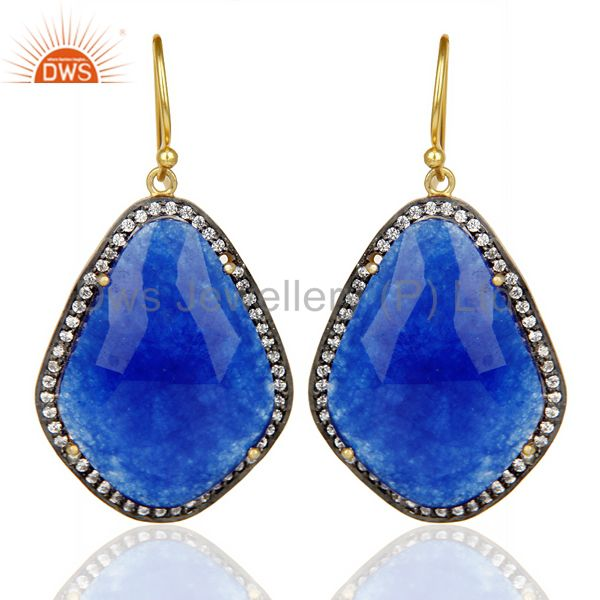 14K Gold Plated 925 Sterling Silver Blue Aventurine White Zircon Drops Earring