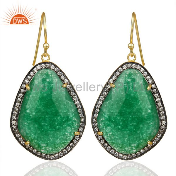 14K Gold Plated 925 Sterling Silver Green Aventurine White Zircon Drops Earring