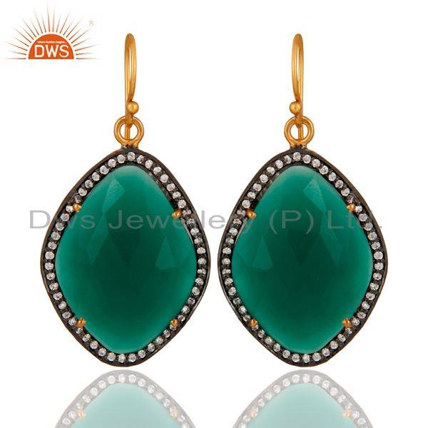 18K Gold Over Sterling Silver Green Onyx Gemstone & Pave White Zircon Earring