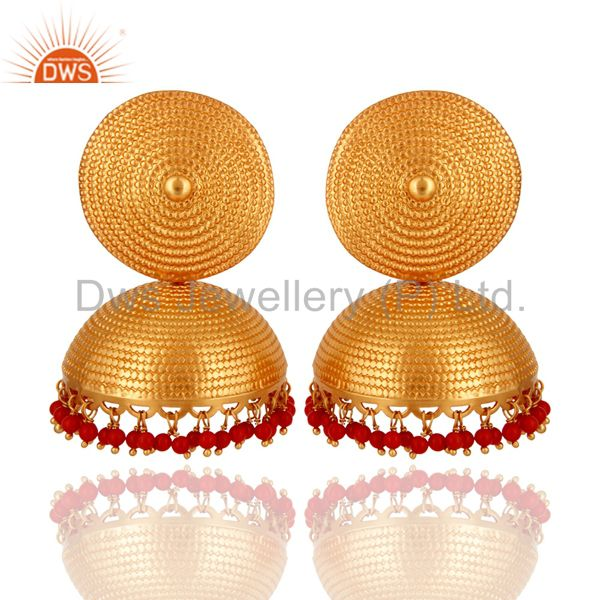 Designer 18K Gold On Sterling Silver Red Coral Gemstone Jhumka Maharaja Earrings