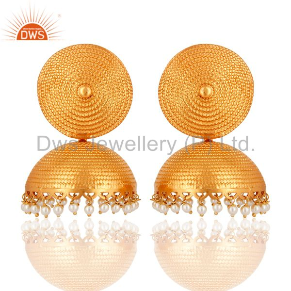 Genuine Pearl 925 Sterling Silver With Gold Plated Matte Finish Jhumka Earrings