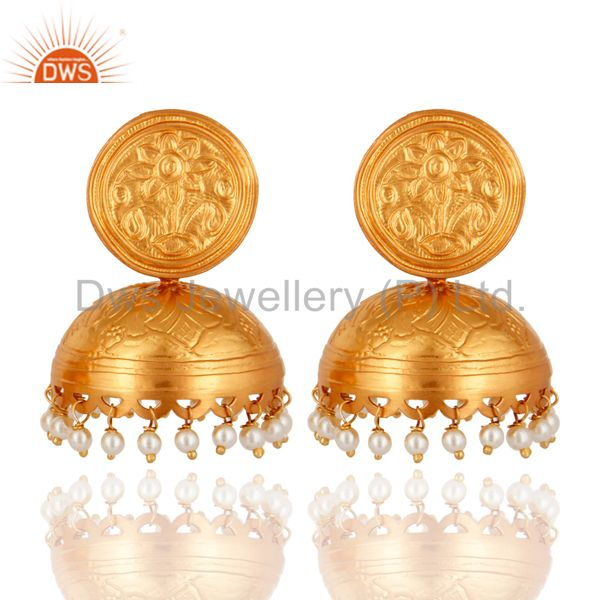 22K Yellow Gold Plated 925 Sterling Silver Pearl Designer Jhumki Earrings