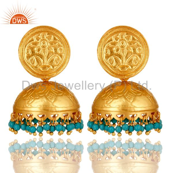Ethnic Designer Sterling Silver Turquoise Dome Shaped Jhumka Chandelier Earrings