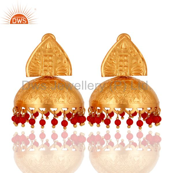 925 Sterling Silver Red Coral Beads Gold Plated Bridal Fashion Jhumka Earrings