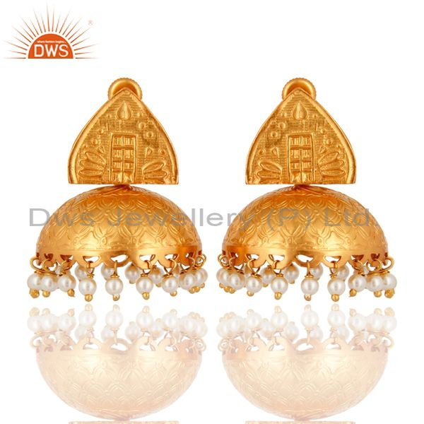 18K Gold Plated 925 Sterling Silver Indian Ethnic Natural Pearl Jhumka Earrings