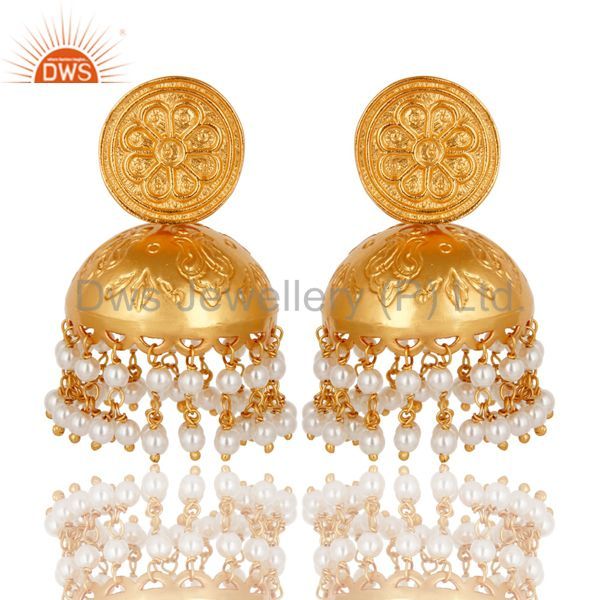 18K Yellow Gold Plated Sterling Silver Pearl Bridal Fashion Jhumka Earrings