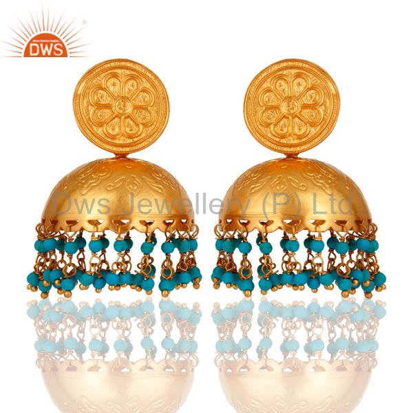 18K Gold Overlay 925 Sterling Silver Beautiful Rajwada Earring With Turquoise
