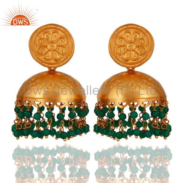 18K Yellow Gold Plated Sterling Silver Green Onyx Traditional Jhumka Earrings