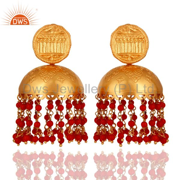 Beautiful Hand Crafted 18K Gold On 925 Silver Red Coral Gemstone Jhumkas Earring