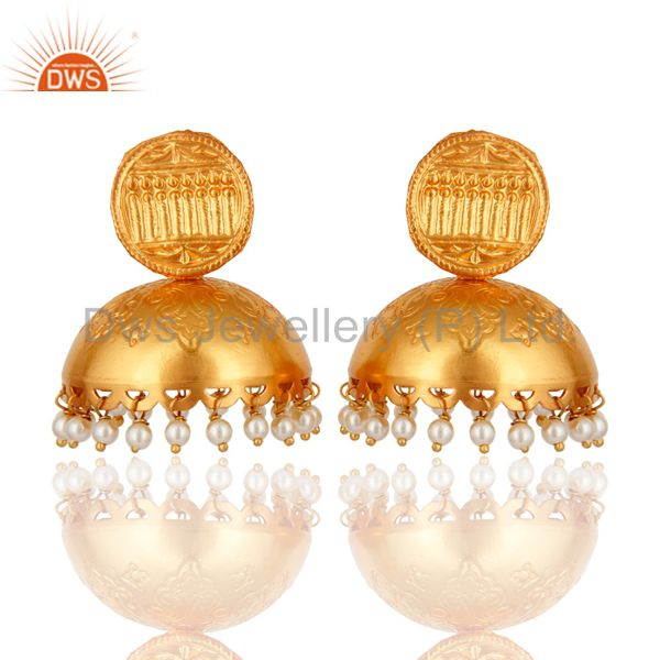 Designer 925 Sterling Silver 18K Gold Plated Jhumkas Fashion Earring With Pearl