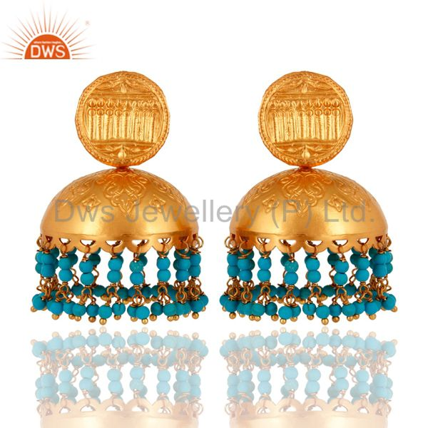 Handmade Sterling Silver Turquoise Stone Indian Bollywood Style Jhumka Earrings