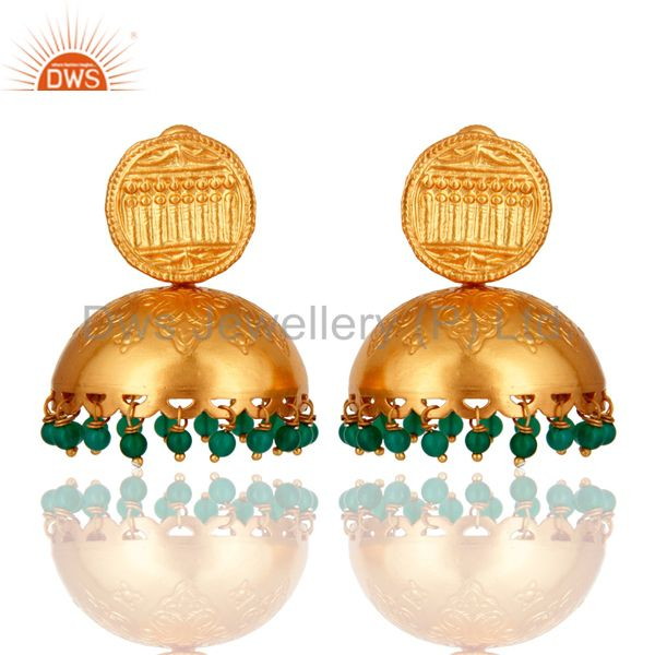 Natural Green Onyx Gold Plated 925 Sterling Silver Jhumka Earrings