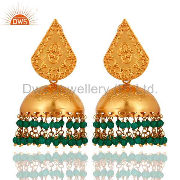 Indian 18K Gold Plated 925 Sterling Silver Green Onyx Beads Jhumkas Earrings