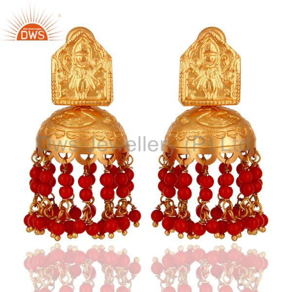 18K Gold Over 925 Sterling Silver Red Coral Gemtone Traditional Design Earring