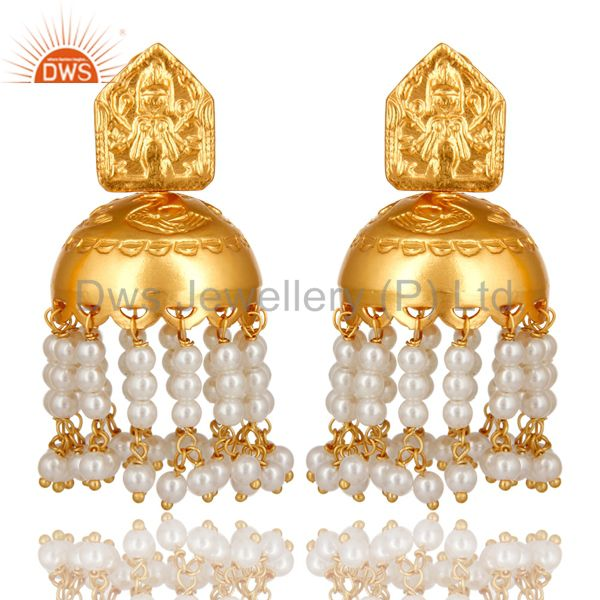 18K Gold Plated 925 Sterling Silver Pearl Bead Beautiful Designer Jhumka Earring