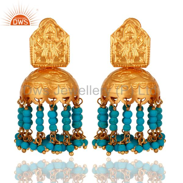 Turquoise 925 Silver Gold Plated Traditional South Indian Fashion Jhumki Earring