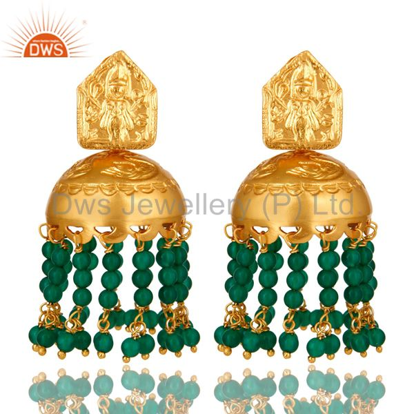 Handmade 22K Gold Over 925 Silver Green Onyx Gemstone Beads Chandelier Earrings