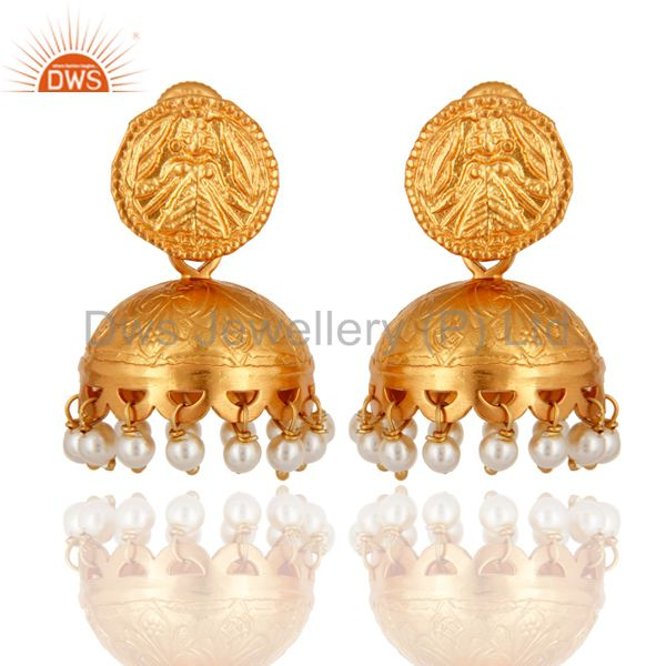Traditional Style 18K Gold Over 925 Sterling Silver Natural Pearl Jhumki Earring