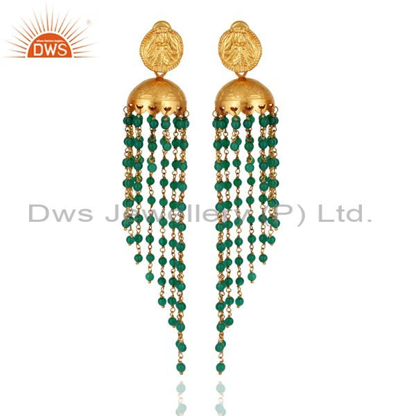 Gold Plated 925 Sterling Silver Green Onyx Gemstone Women Chandelier Earrings