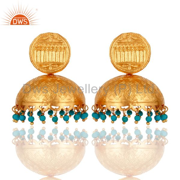 Designer 18k Gold Plated 925 Sterling Silver Jhumka Earring With Turquoise Beads