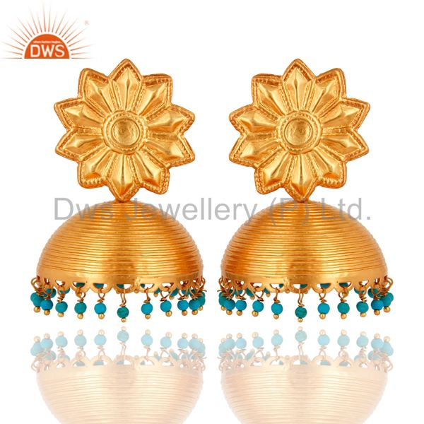 18K Gold Plated Sterling Silver 925 Turquoise Gemstone Designer Jhumka Earrings