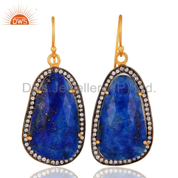 Lapis Lazuli Gemstone Earring Made In 18k Gold Over 925 Sterling Silver Jewelry