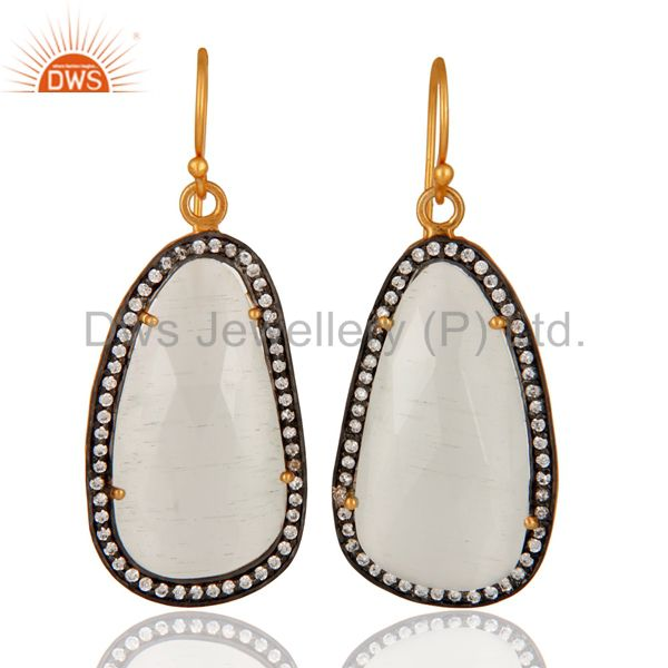 Handmade Sterling Silver White Moonstone & White Zircon Fashion Designer Earring