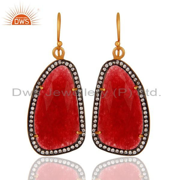 Handmade Sterling Silver Gold Plated Faceted Red Onyx Slice Drop Earring With CZ