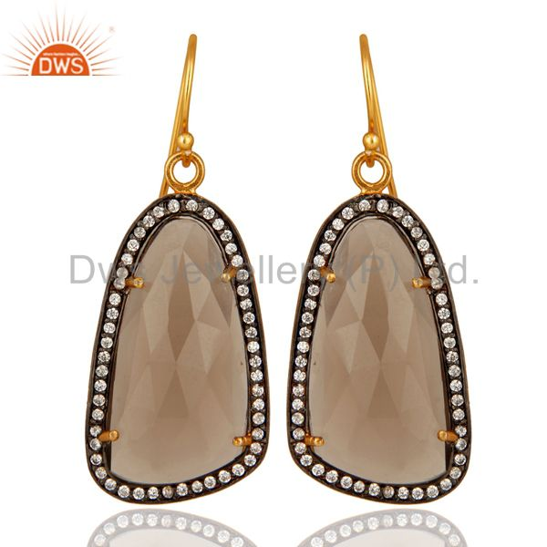 Smoky Quartz And Cubic Zirconia Fashion Earrings In 18K Gold On Sterling Silver