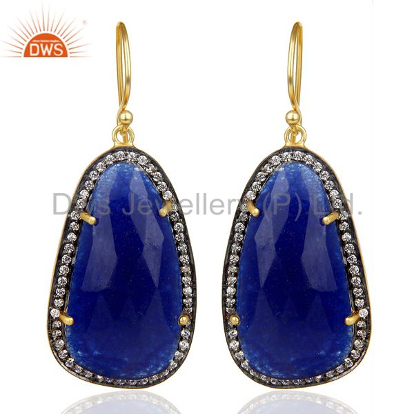 Blue Aventurine White Zircon 14K Gold Plated 925 Sterling Silver Drops Earrings