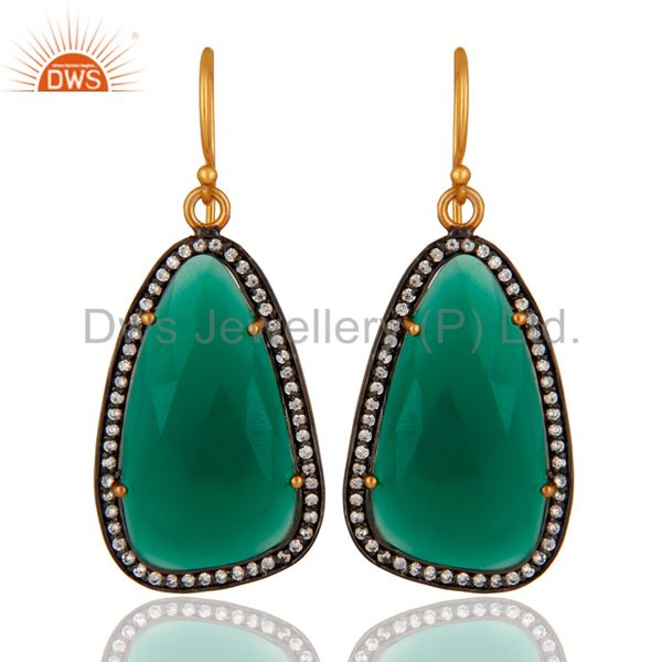 Designer 925 Sterling Silver Green Onyx & White Zircon Earring With Gold Plated