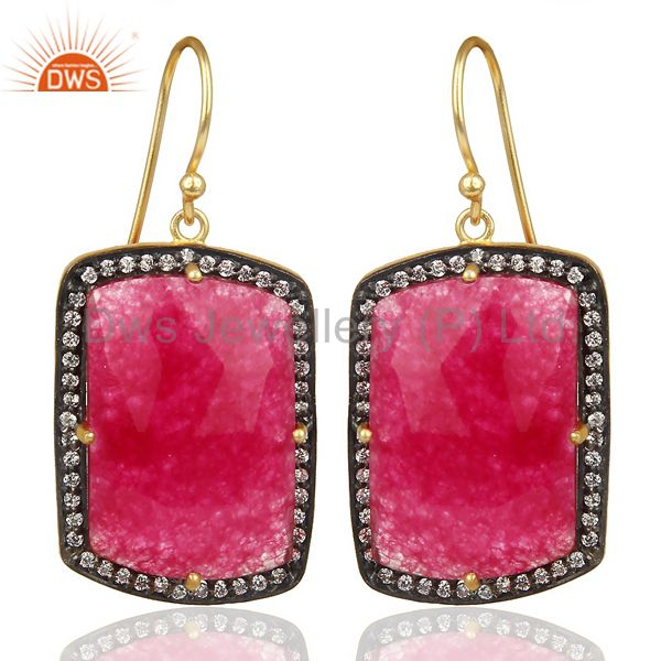 14K Gold Plated 925 Sterling Silver Red Aventurine White Zircon Drops Earrings