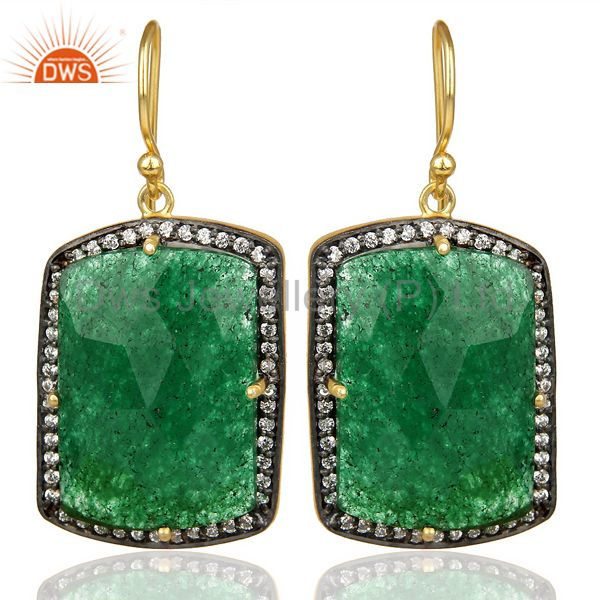 14k Gold Plated 925 Sterling Silver Green Aventurine Gemstone Dangle Earrings