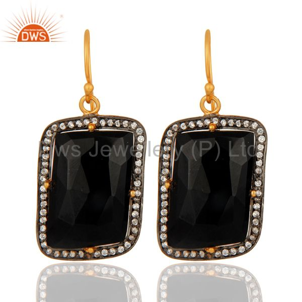Faceted Black Onyx Gemstone Prong Set Earrings In 22K Gold Over Sterling Silver