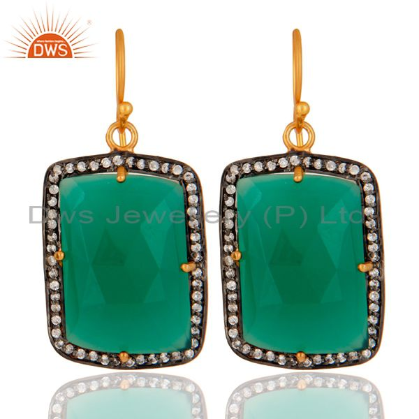 Designer 18K Yellow Gold Over 925 Sterling Silver Green Onyx Gemstone Earrings