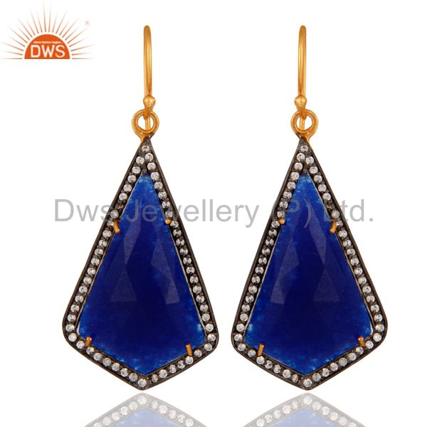 18 Carat Yellow Gold Plated Solid 925 Sterling Silver Blue Aventurine Earrings