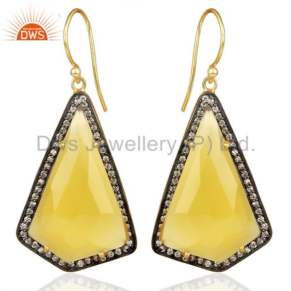 14K Gold Plated 925 Sterling Silver Yellow Chalcedony Gemstone Dangle Earrings