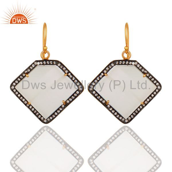 White Moonstone 22K Gold Plated 925 Sterling Silver Fashion Earring With Zircon