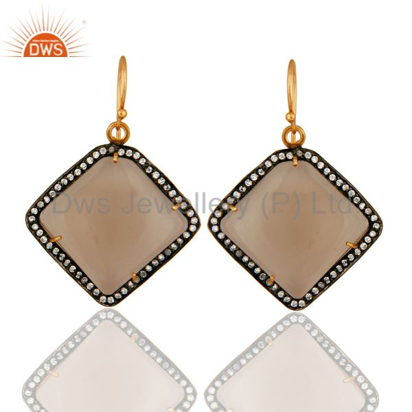 18K Yellow Gold Plated Sterling Silver Smoky Quartz Gemstone Earrings With CZ