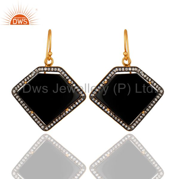 Gold Plated Sterling Silver Black Onyx Gemstone Designer Earrings With CZ