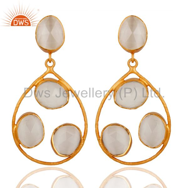 Handmade Sterling Silver White Moonstone Dangle Earrings With 22K Gold Plated