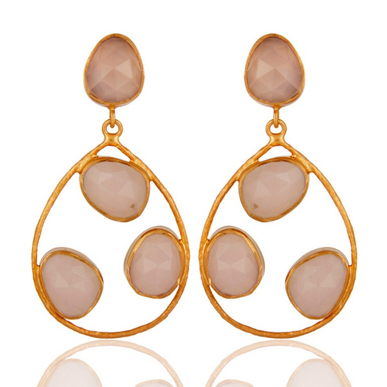 Sterling Silver 925 Handcrafted Rose Chalcedony Earrings With Gold Plated