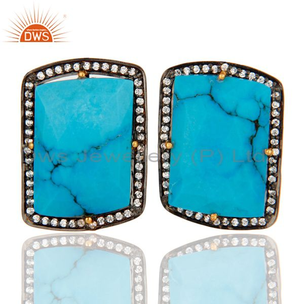 18K Yellow Gold Plated Sterling Silver Turquoise Gemstone Stud Earrings With CZ