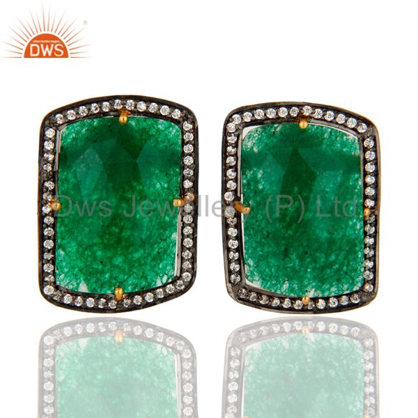 Green Aventurine And Cubic Zirconia 18K Yellow Gold Over Silver Stud Earrings
